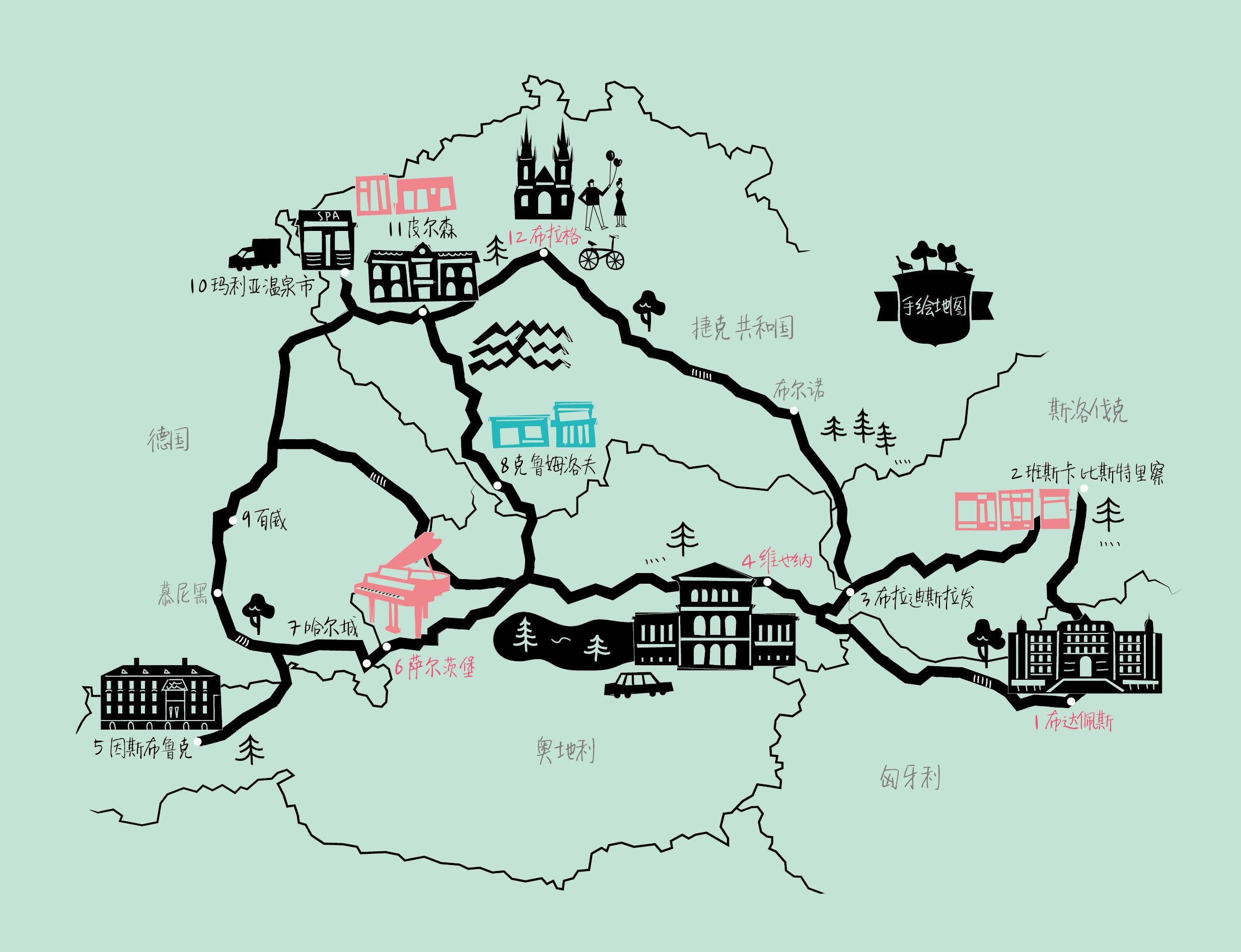 布拉格手绘地图