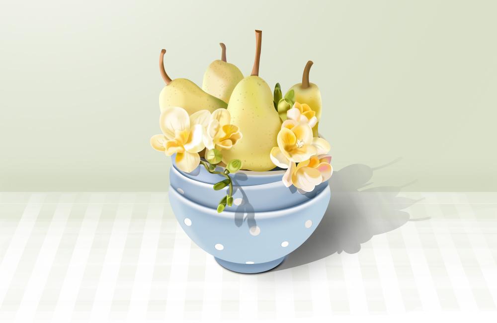 临摹:梨&花
