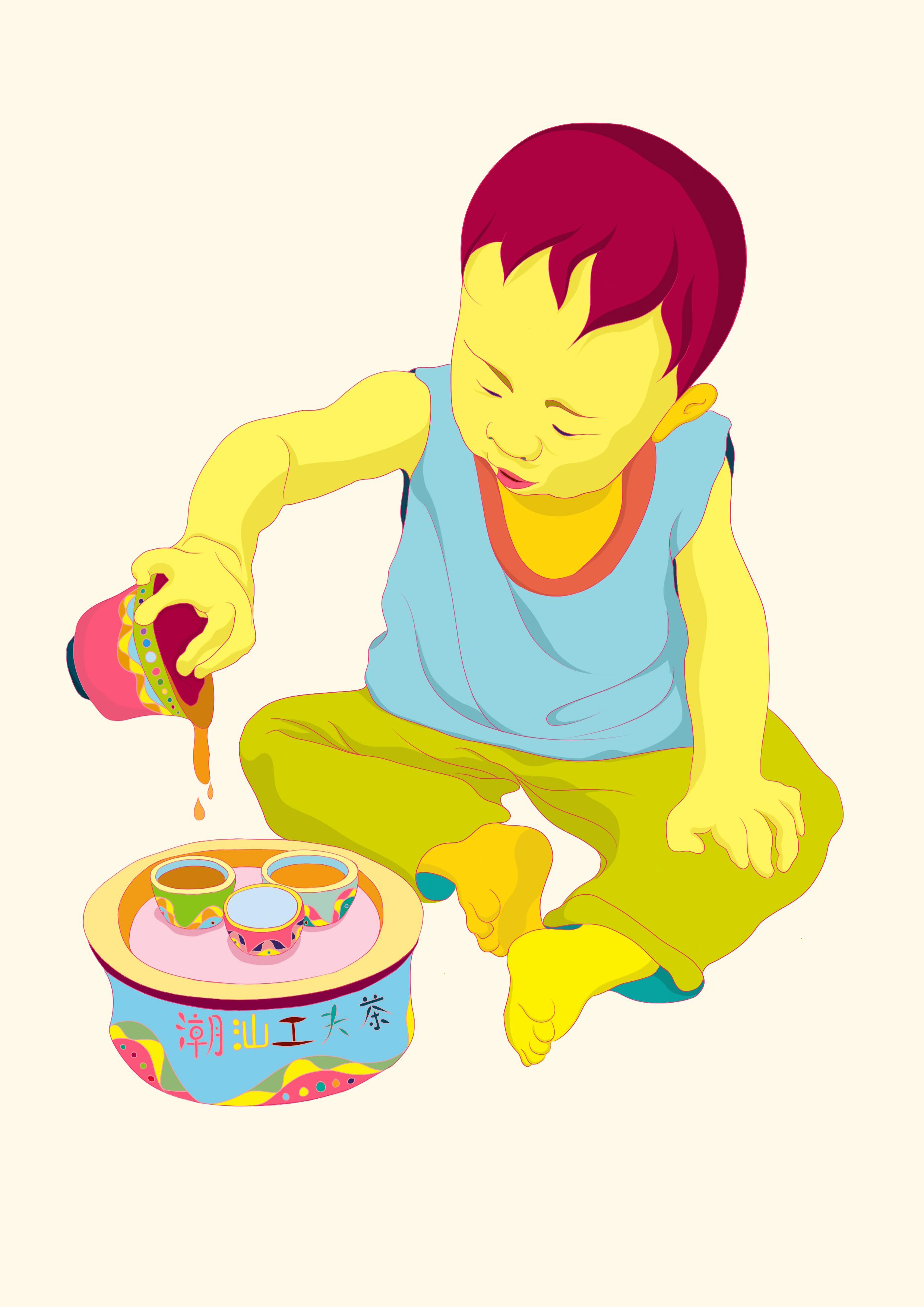 潮汕功夫茶手绘