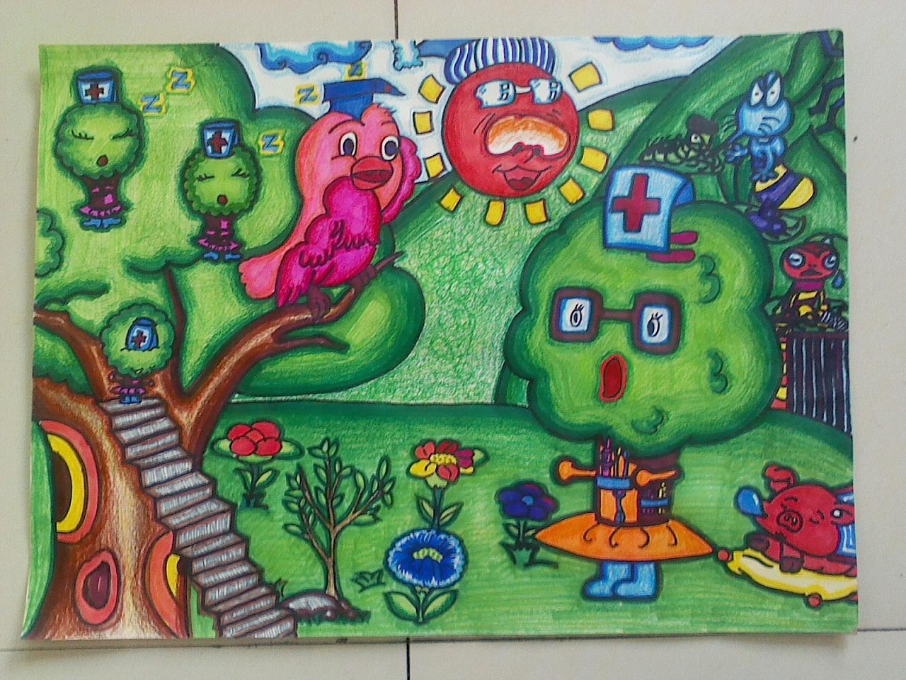 油画棒作品欣赏-少年宫作品郁金香_儿童油... _中国婴幼儿教育网