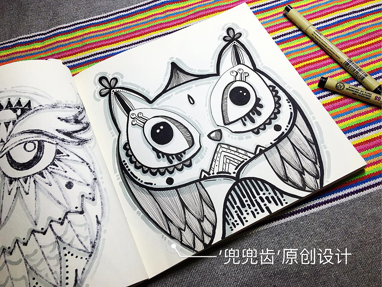 缠绕画,黑白装饰画,民族风,线描,插画,猫头鹰图片