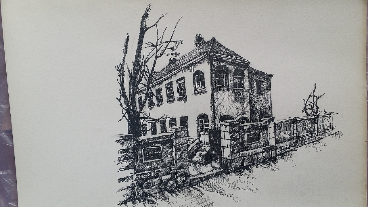 青岛人特色老建筑  欧式风格 速写图片