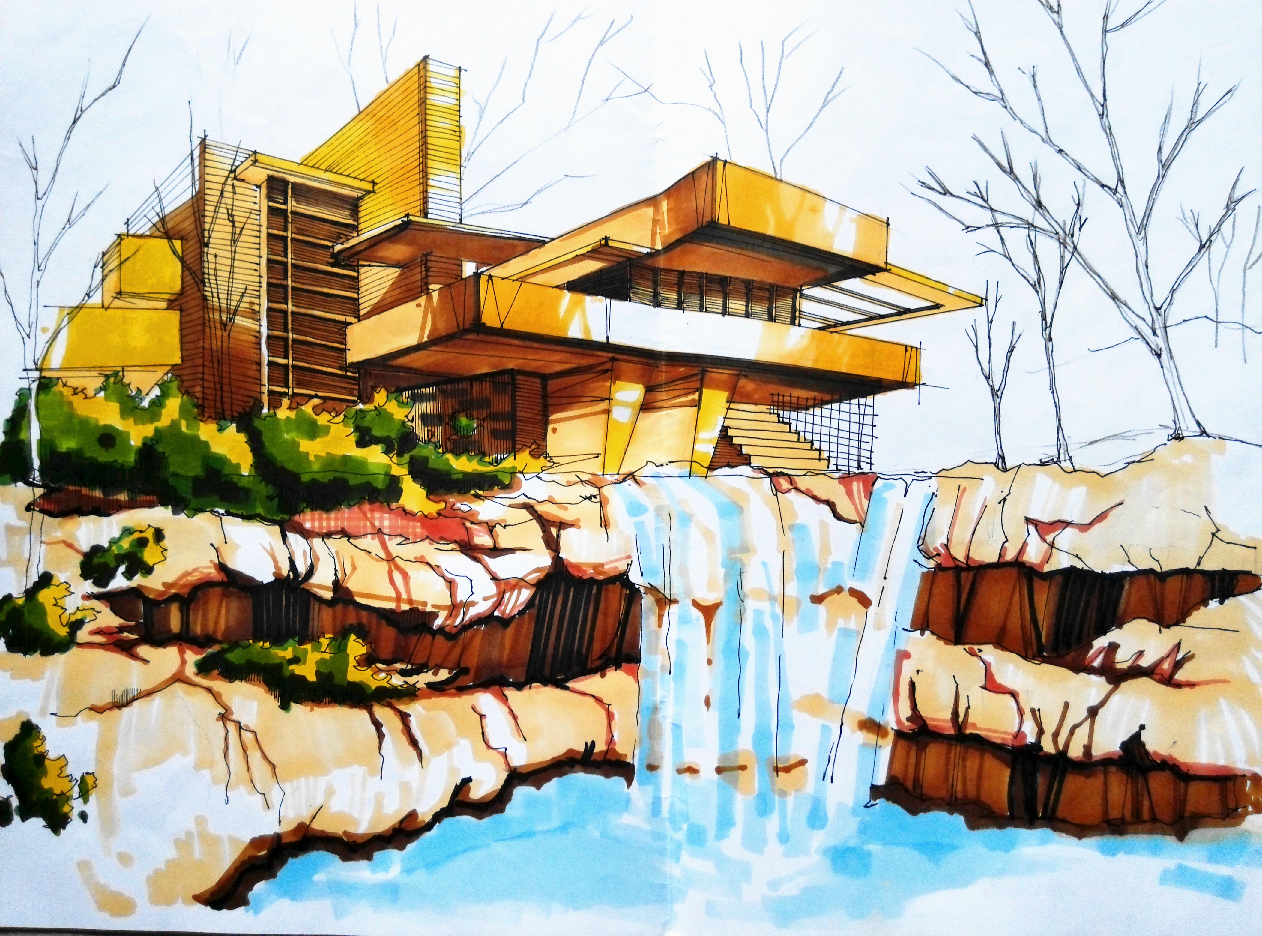 建筑风景透视图