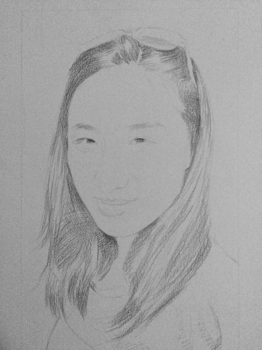 一幅女头像艺术画(带短发) 头像 纯全身 Vaness素描背影女生步骤青年图片