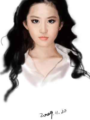 刘亦菲-用手绘板画的第一张人像