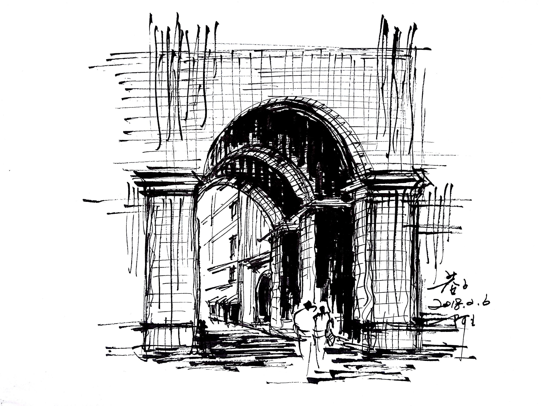 阿王速写钢笔画建筑风景