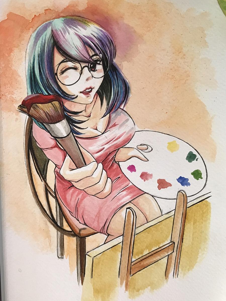 水彩手绘|单幅漫画|动漫|秋山丶 - 原创设计作品