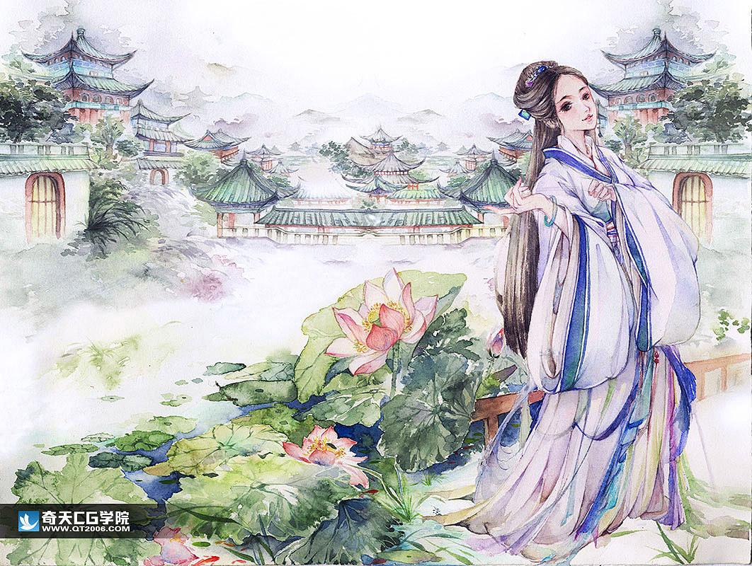 水彩手绘古风美女插画