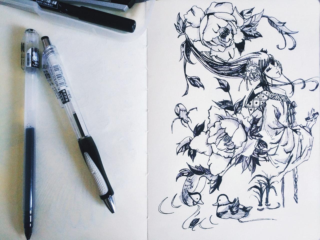 手绘的黑白古风