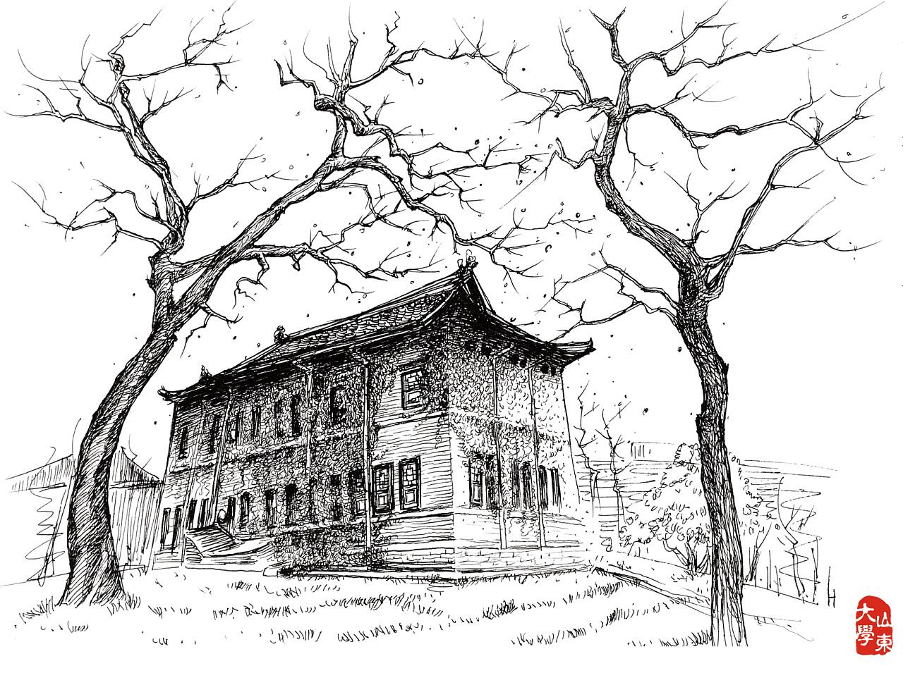 校园手绘明信片|插画|插画习作|房灰灰 - 原创作品