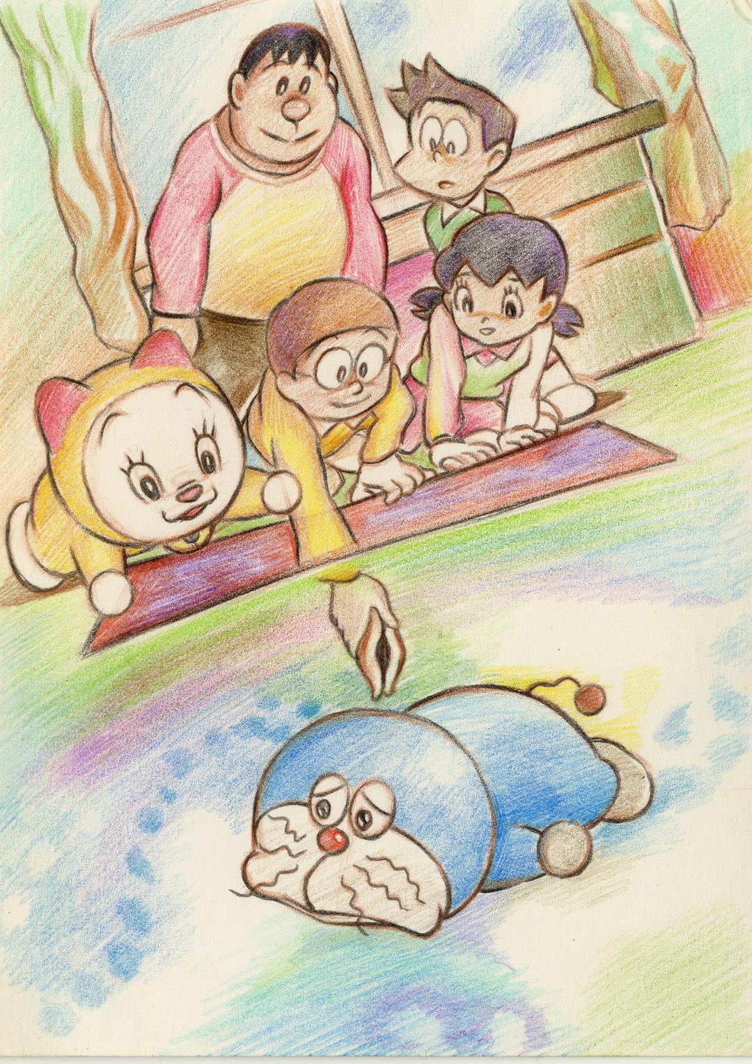 彩铅 手绘 明信片:悲惨世界珂赛特 龙猫—猫巴士 机器