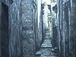 小时候的油画作品《小巷深深》