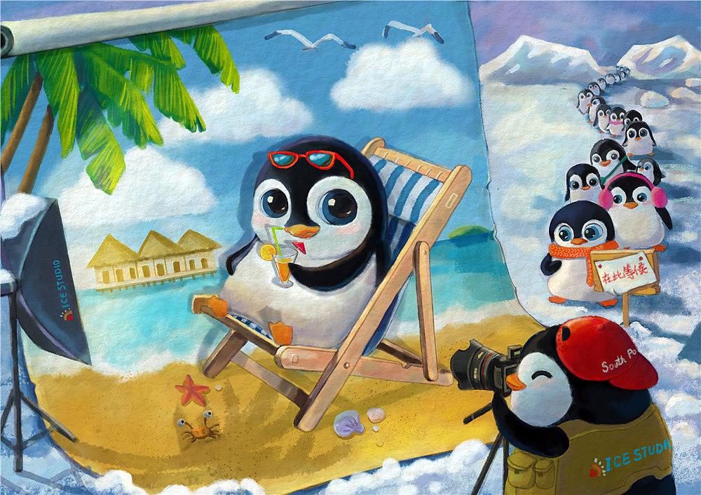 企鹅乐高动画手绘