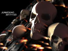 恐怖类型-岩浆上的骷髅