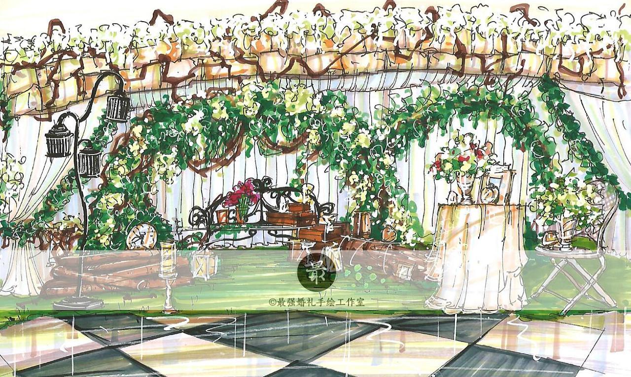 【婚礼手绘】纸面手绘—森系展示区
