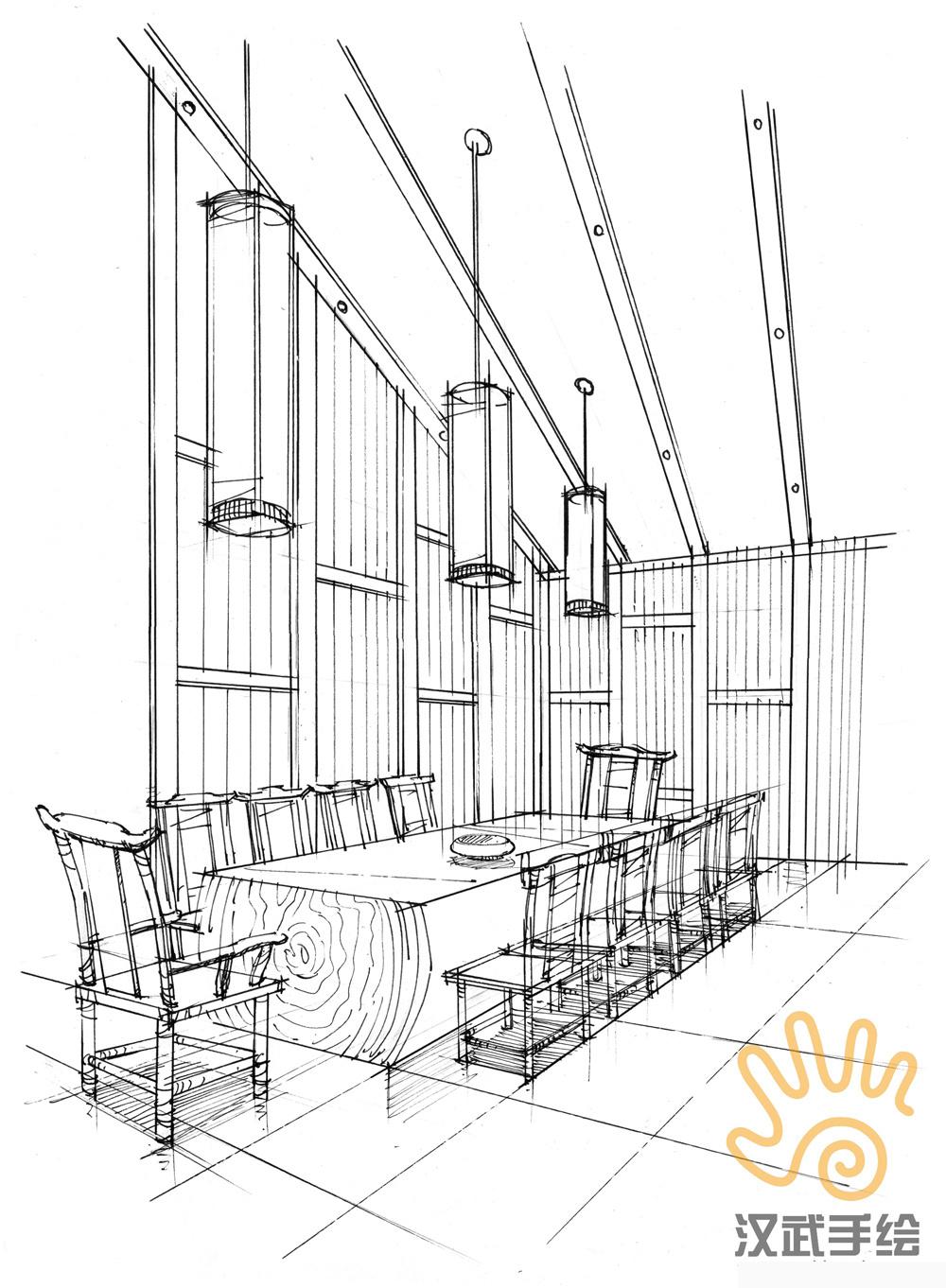 禅意室内手绘方案效果图|空间|室内设计|汉武手绘