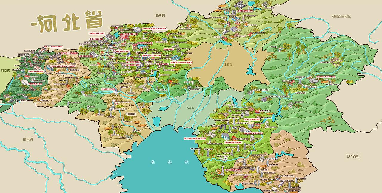 来一波手绘地图《京津冀红色旅游手绘地图》