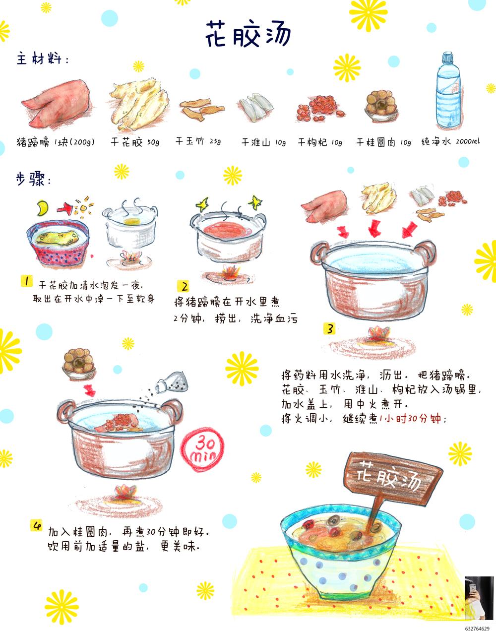 花胶汤/手绘食谱