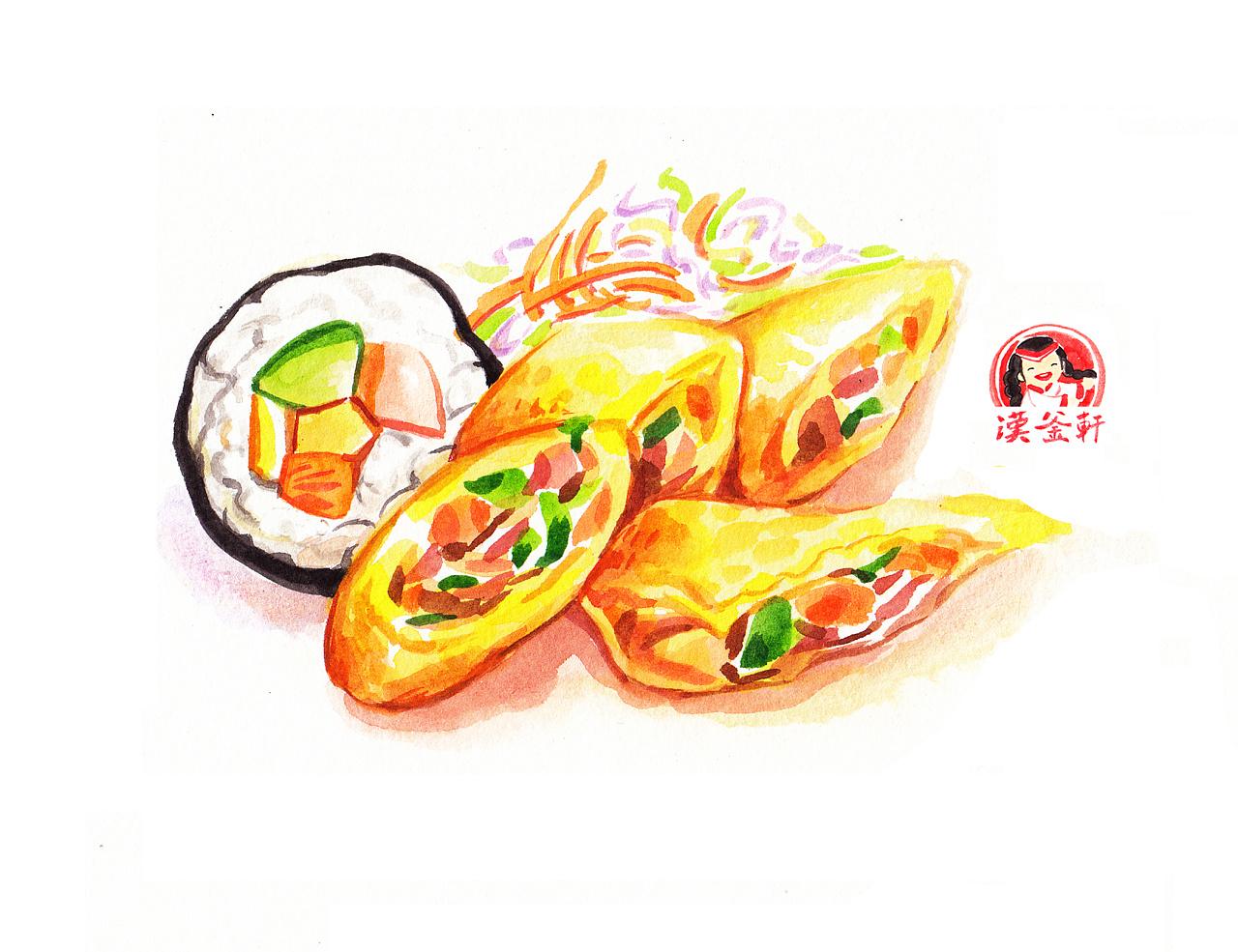 手绘美食手帐(芝士卷,寿司,阴功汤)