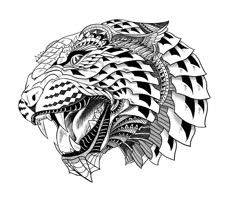 橱窗手绘猎豹设计图案