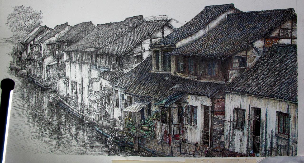 古镇建筑风景钢笔手绘