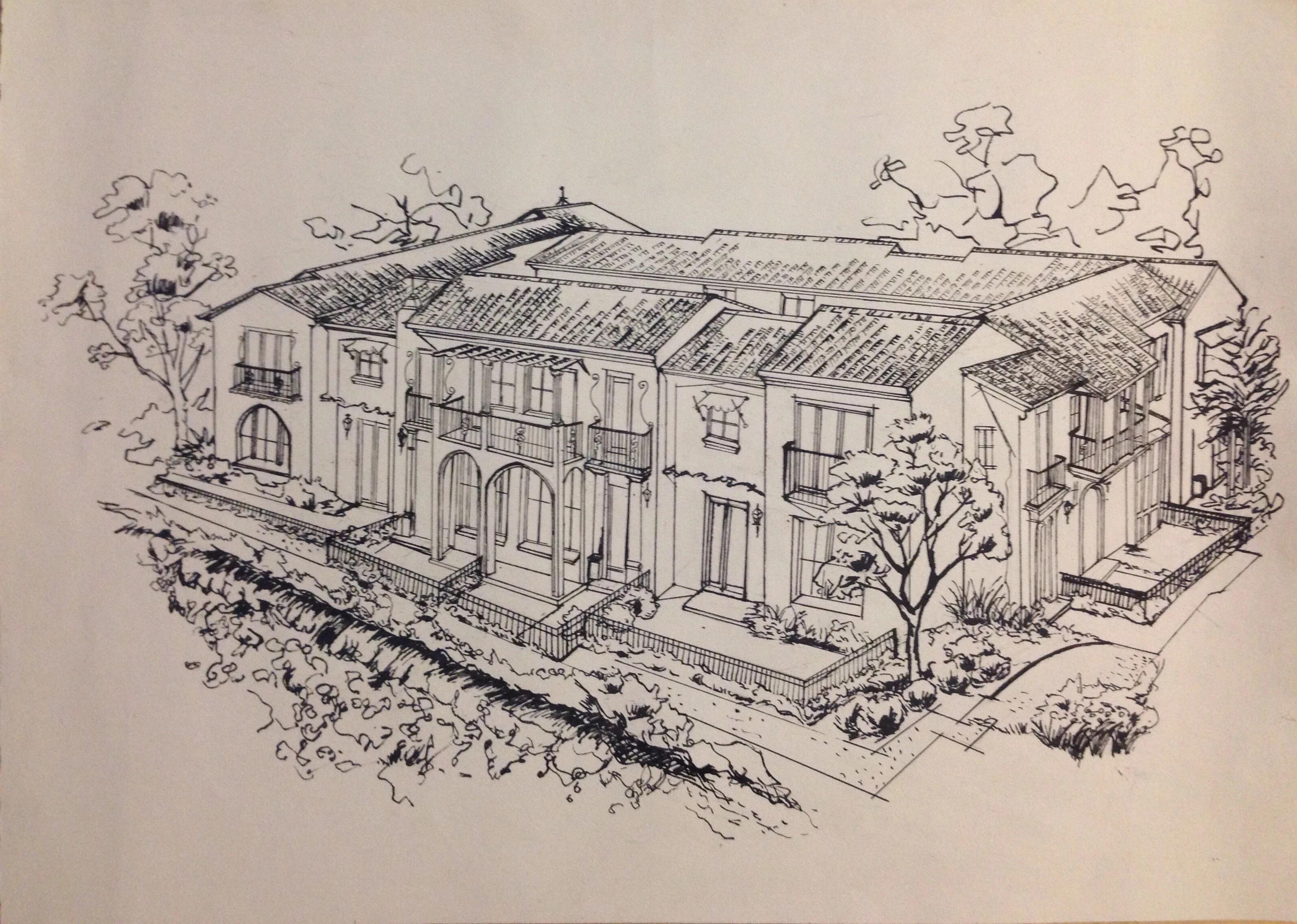 别墅手绘稿