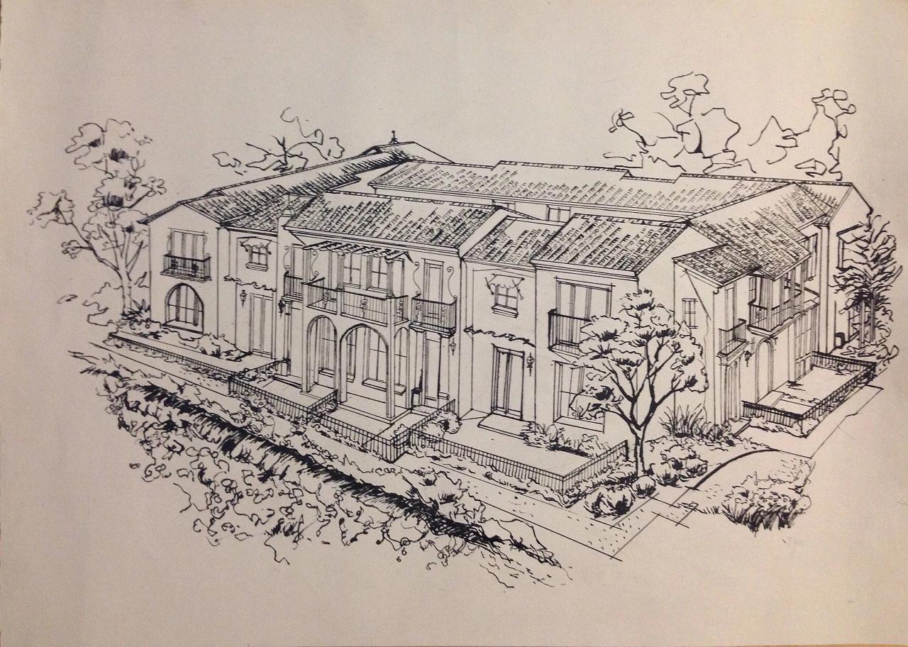 别墅手绘稿|空间|景观设计|卖火柴的gril - 原创作品