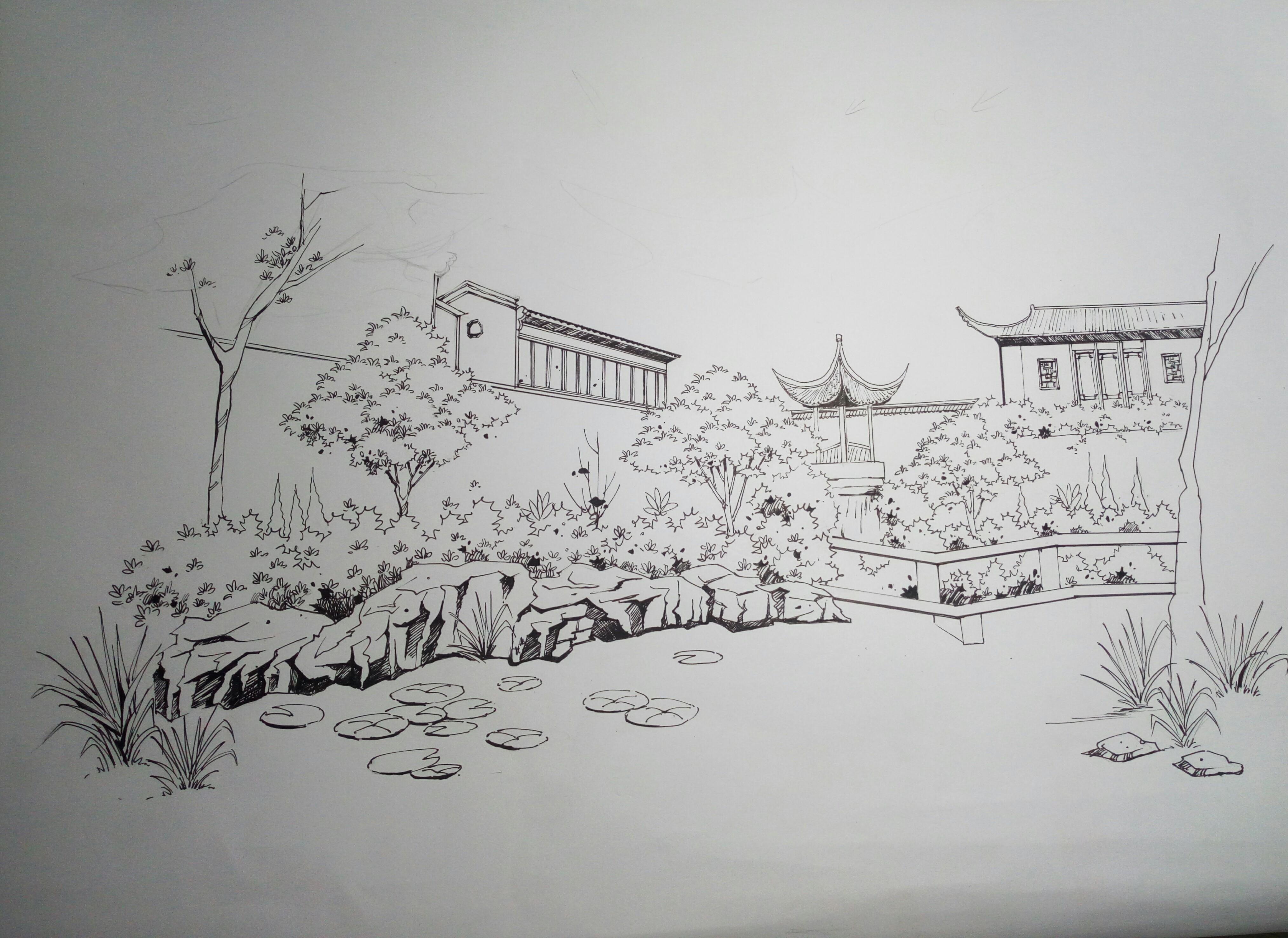古典园林手绘钢笔画分享展示