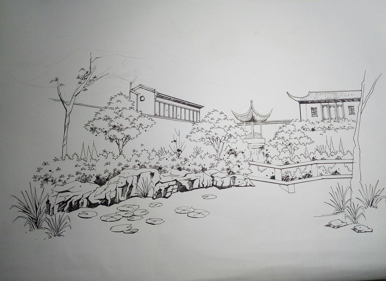 古典园林手绘