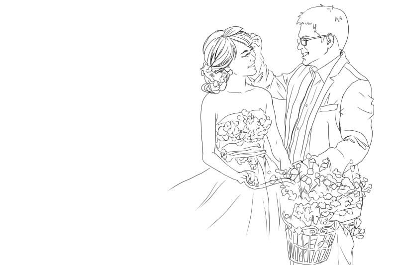 黑白线描手绘婚纱