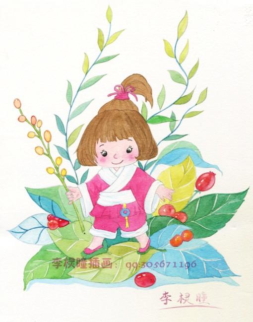 原创手绘水彩古装小女孩