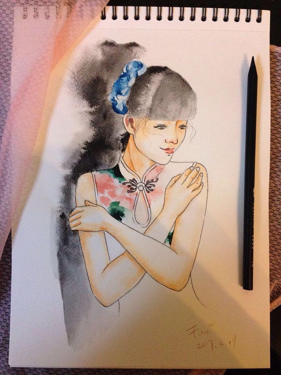 手绘水彩旗袍装