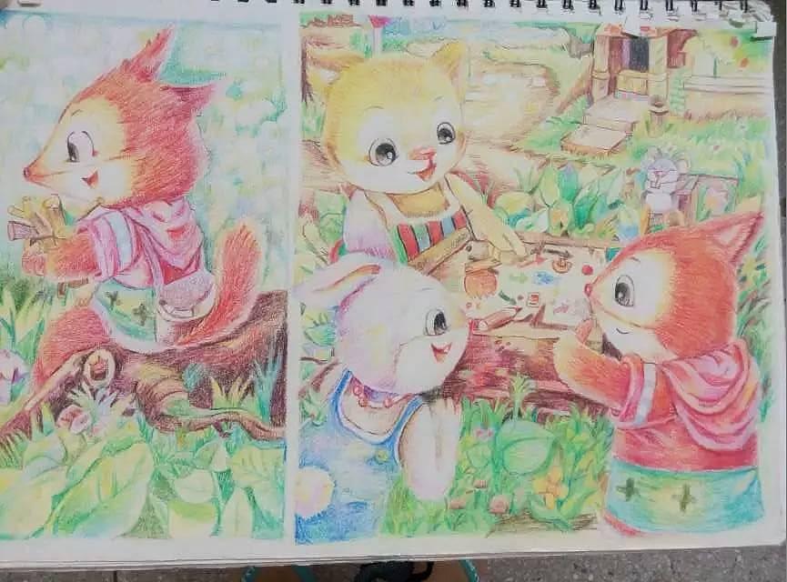手绘儿童插画彩铅作品
