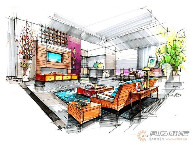 设计手绘图客厅马克笔手绘图马克笔手绘图培训
