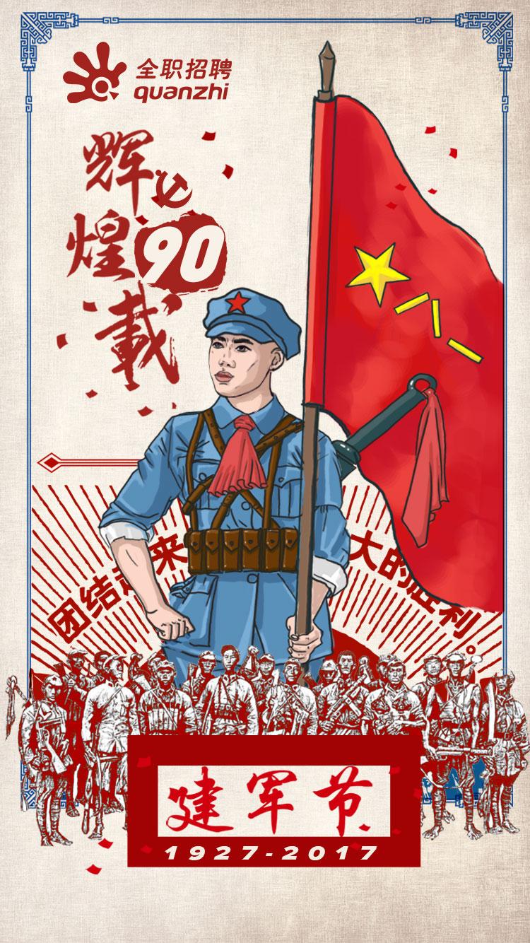 建军节手绘海报