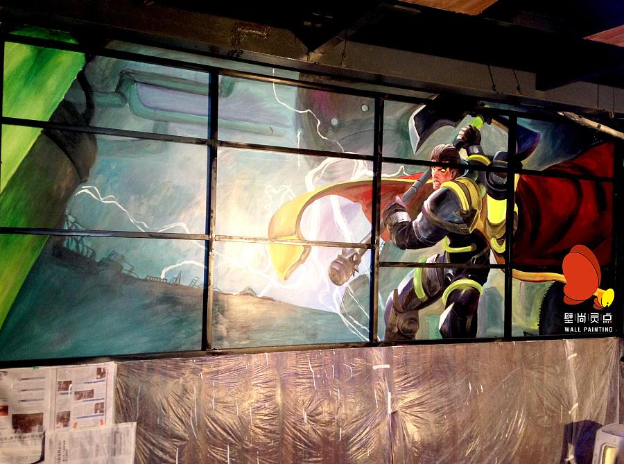 网咖 英雄联盟主题墙绘壁画