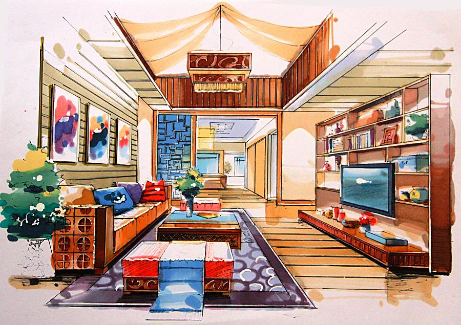 室内手绘作品—马克笔|其他艺创|纯艺术|张沫沫1992