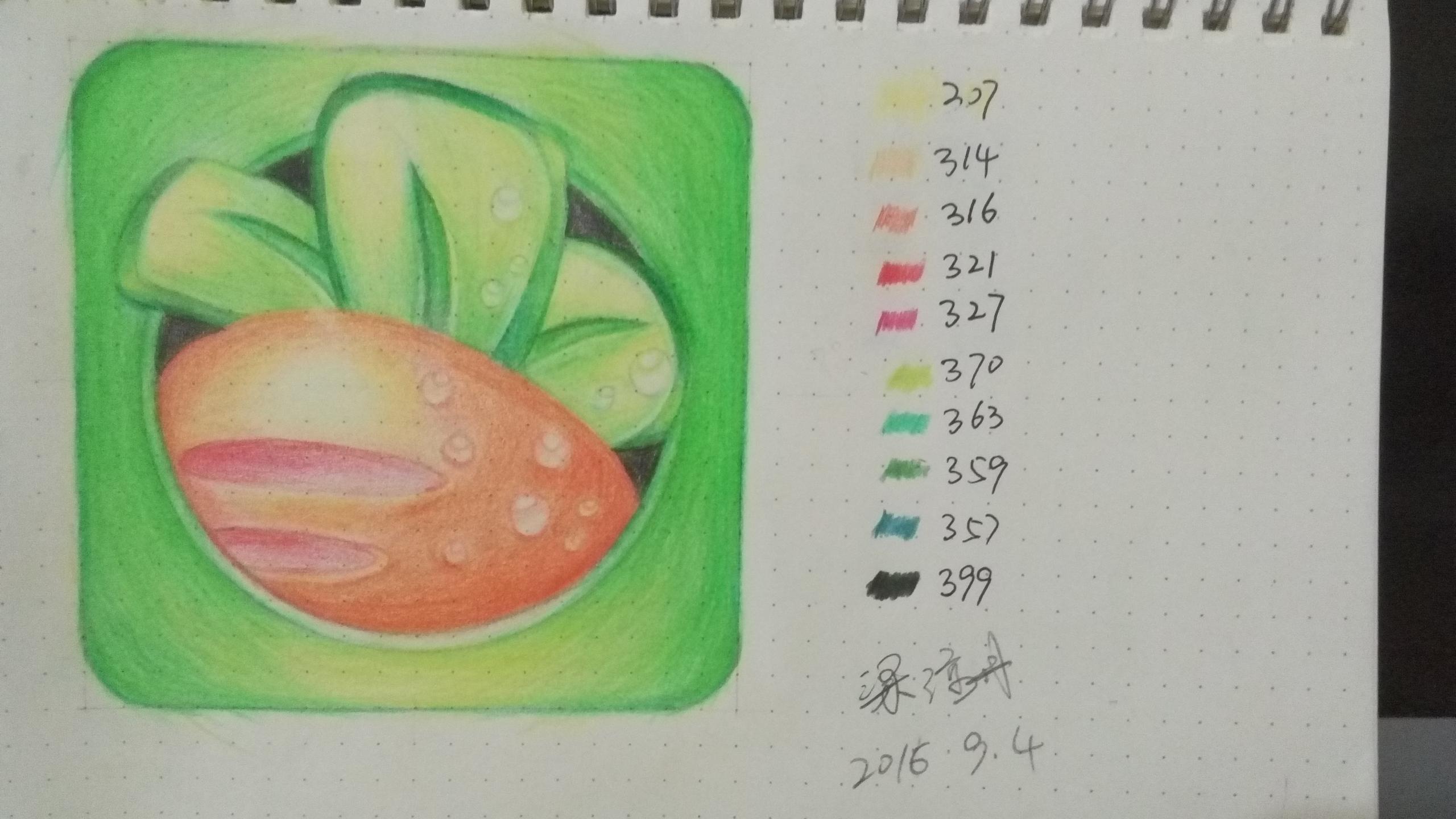 手绘彩铅之胡萝卜