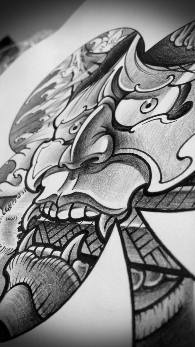 纹身手稿——梅花,般若