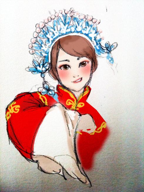 凤冠古装美女手绘