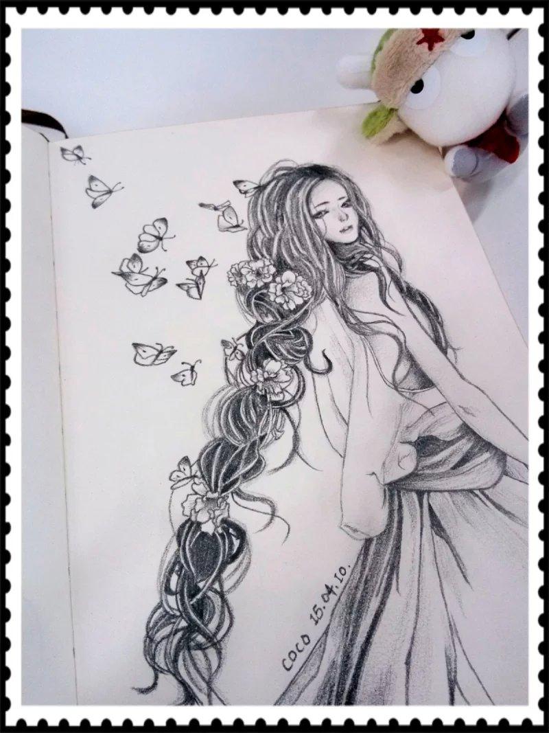 手绘人物 黑白|绘画习作|插画|koulingshan - 原创