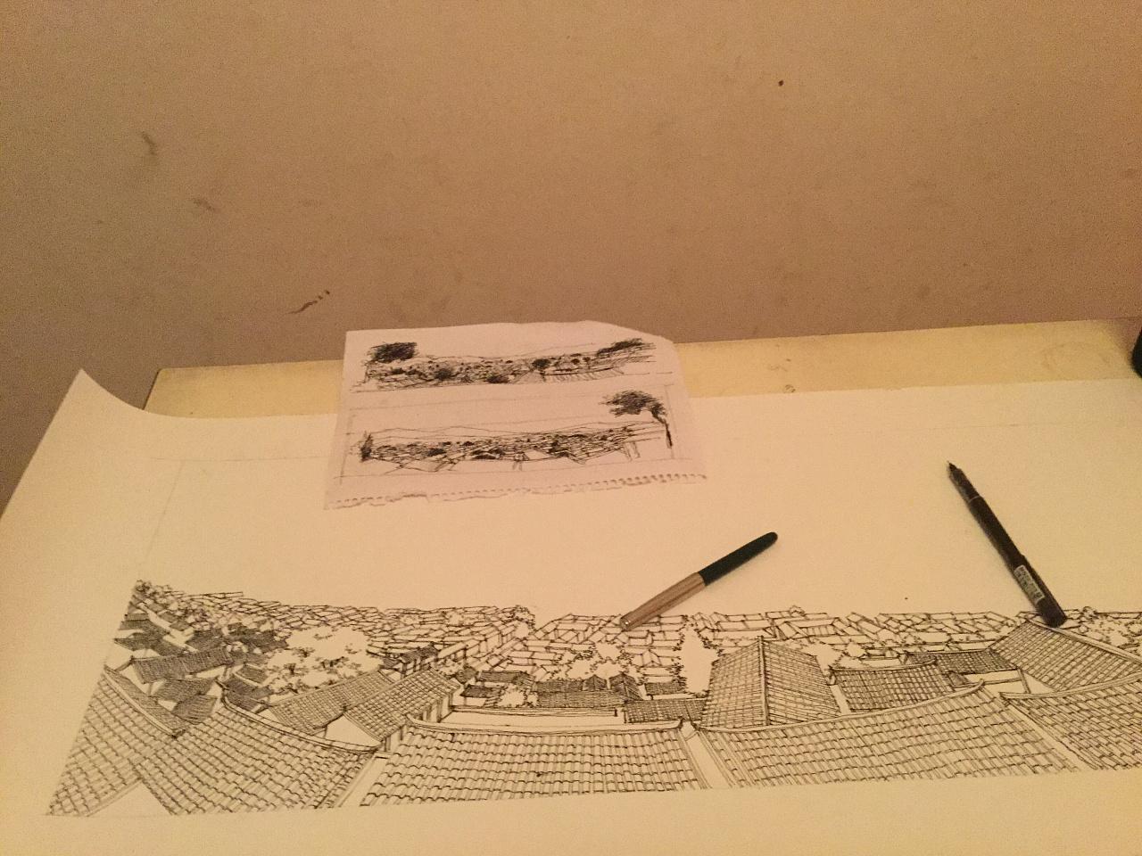 李万海原创钢笔手绘《丽江古城》