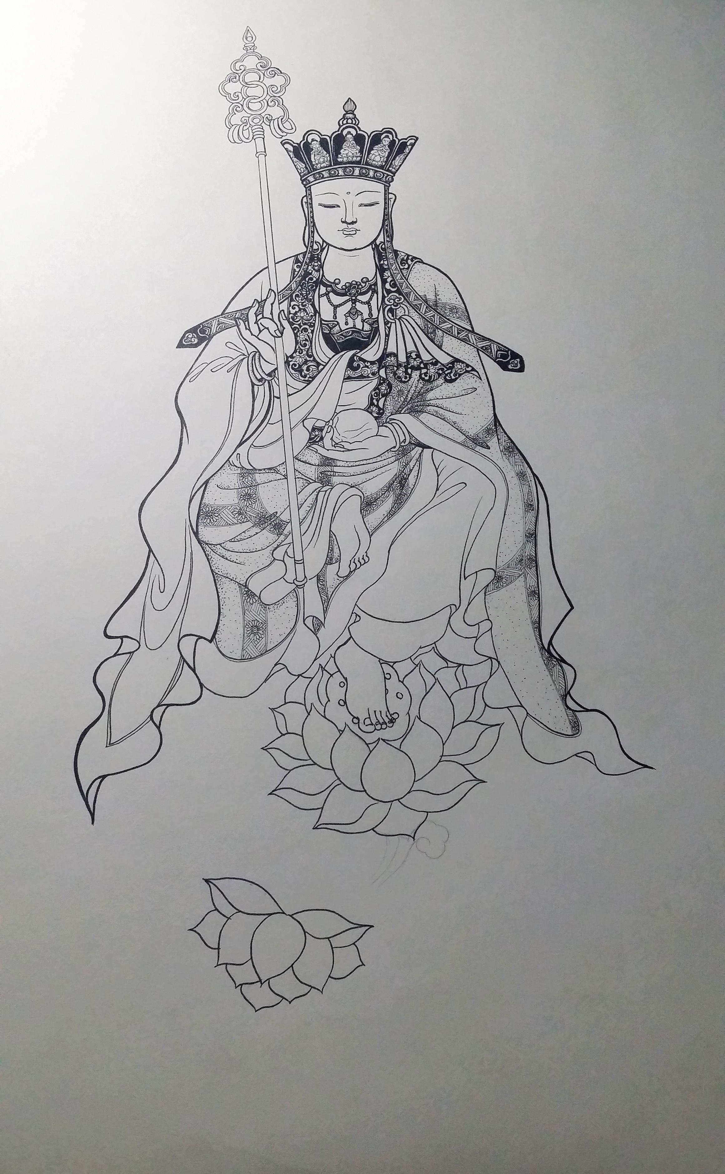 手绘地藏王菩萨(针管笔)