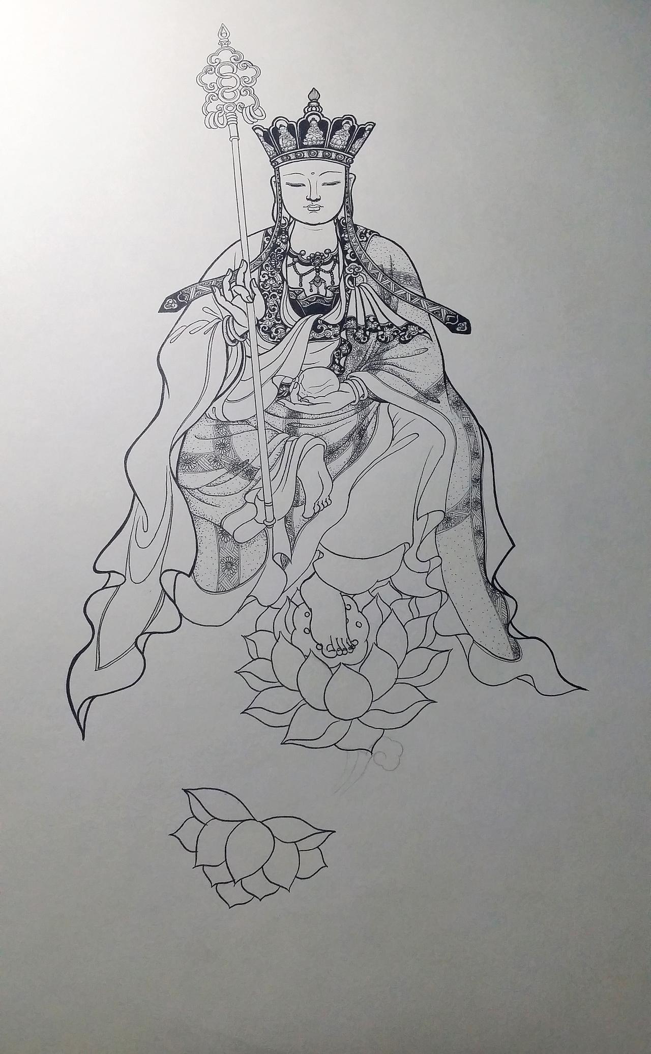 手绘地藏王菩萨(针管笔)|纯艺术|钢笔画|李沫融
