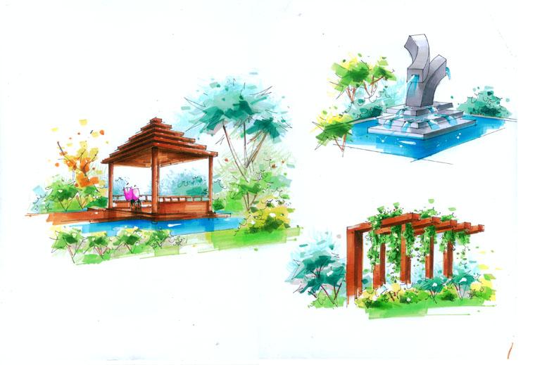 08年的马克笔手绘作品(全套别墅设计