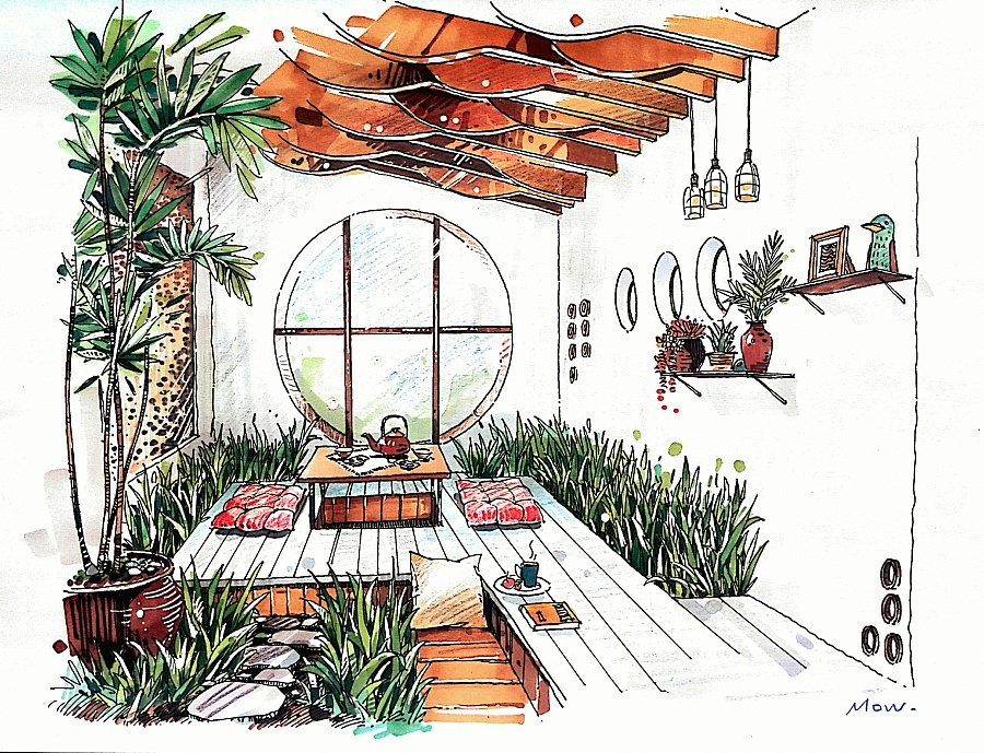 茶室建筑手绘图