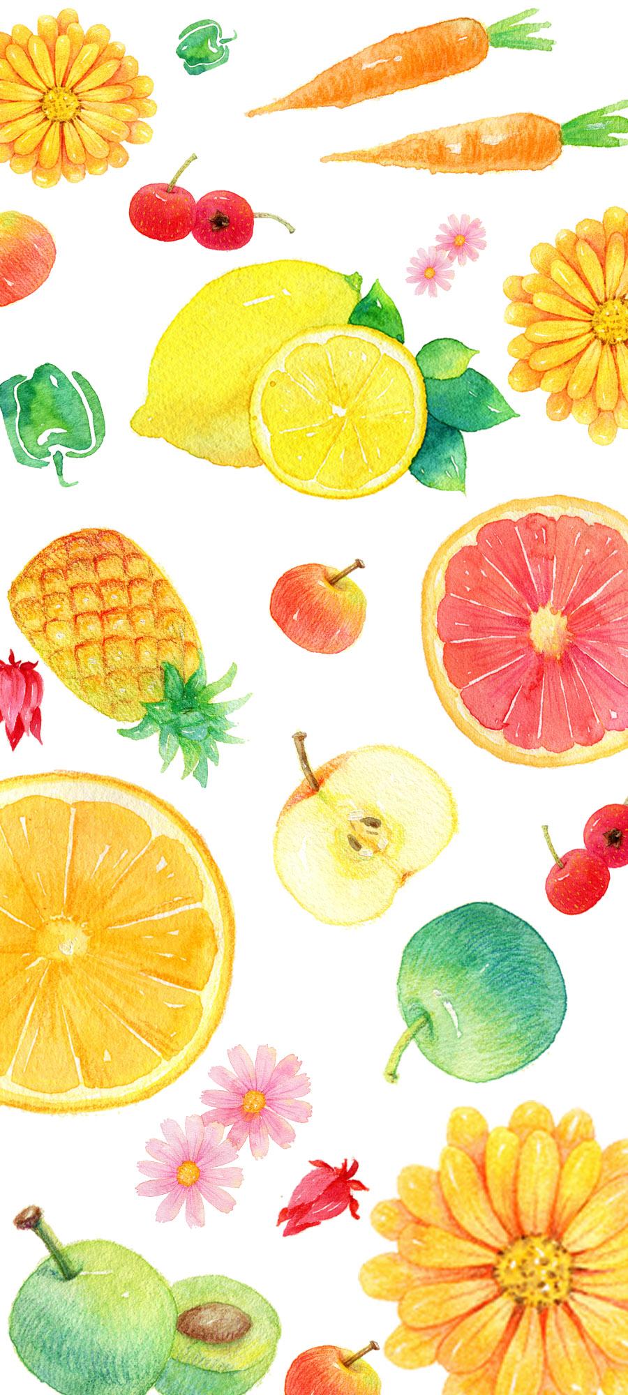 水彩手绘水果