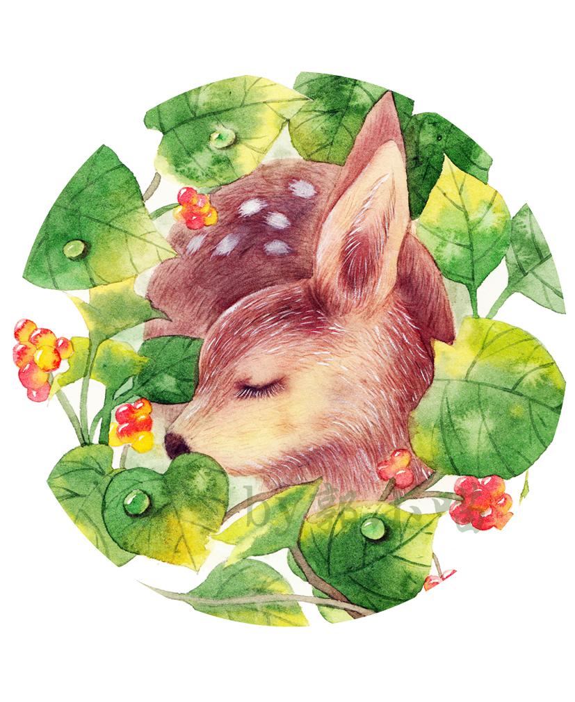 水彩手绘小鹿