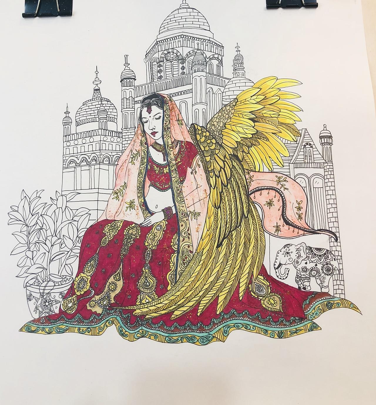 手绘印度少女插画 黑白插画 彩色插画