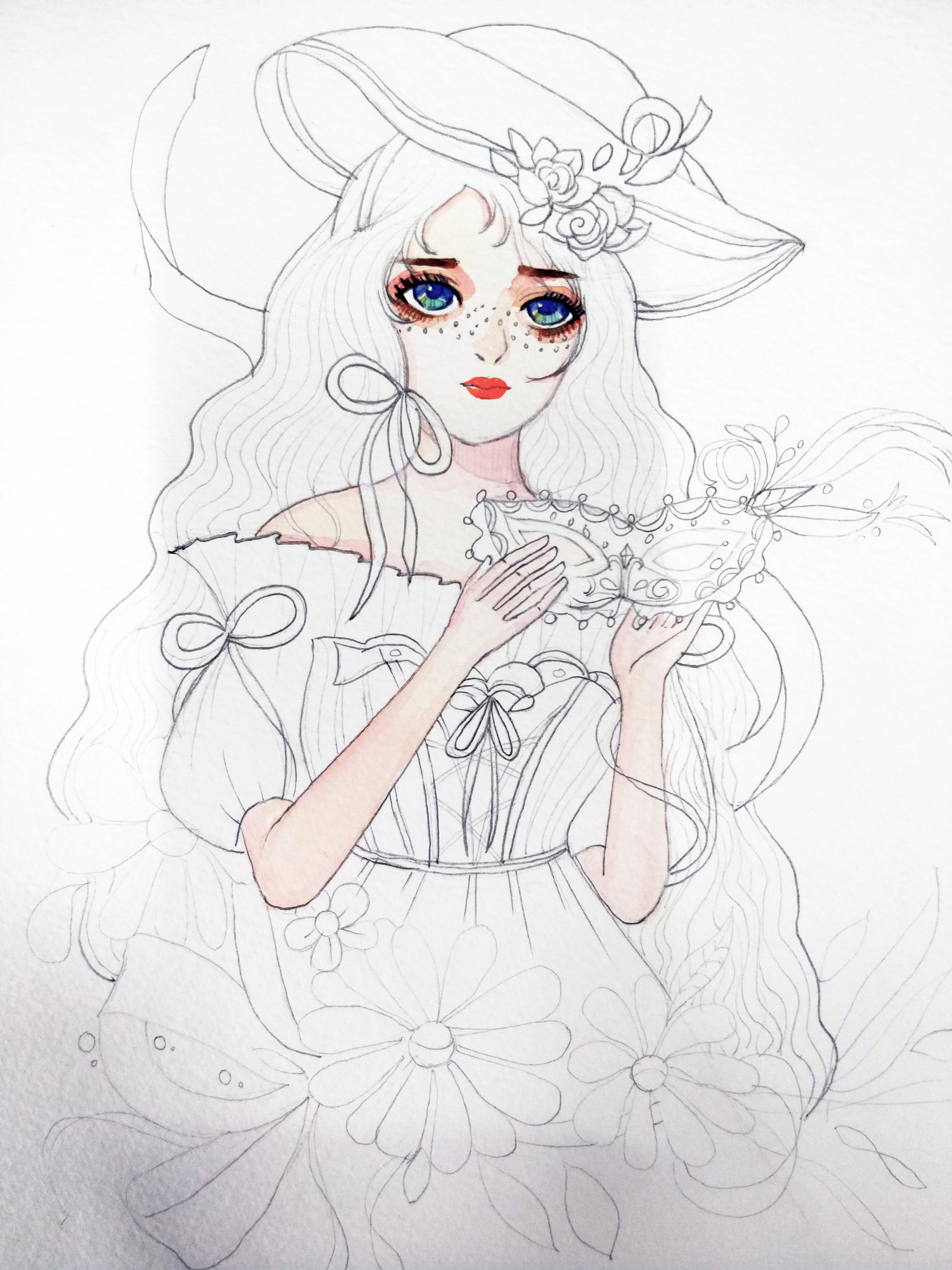 公主服装简笔画设计图展示